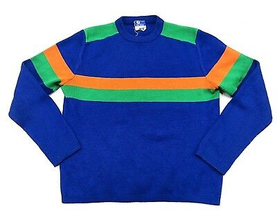 60s VTG JCPENNEY Multicolor SKIING Men's Sweater Adult Size MEDIUM 100% Acrylic