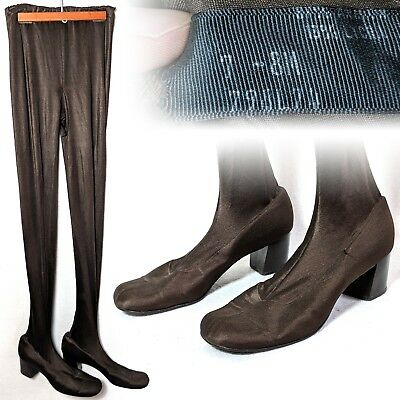 Vintage 1960s Pan-T-Boots Leggings attached shoes boots Mod Brown 7-8