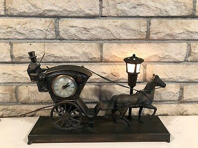 United Metal Goods Vintage Horse And Buggy Carriage #701 Clock & Lamp Work 1950s