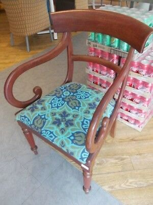 antique WILLIAM IV VICTORIAN scroll arm ARMCHAIR mahogany chair , lift out seat