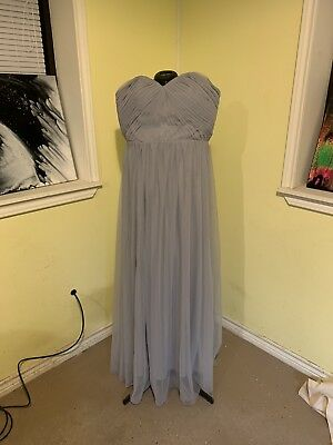 Size Xl EVA SILVER GREY MAXI PROM DRESS STRAPLESS FORMAL HOMECOMING