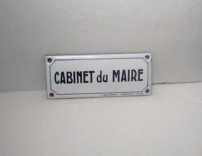 Antique French Enamel Sign Cabinet du Maire / Office of the Mayor - Signed