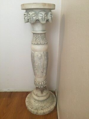 Antique Alabaster Plant Stand/Pedestal Very Rare Asian Design Hand Carved Stone