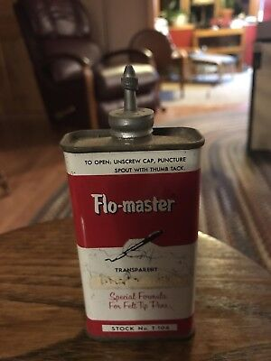 Vintage Flo Master Inks Tin Advertising Can Lead Top