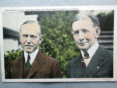 President Calvin Coolidge And Vice President Charles Dawes Postcard 1925