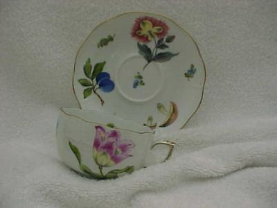Herend Fruits and Flowers Full-sized Cup and Saucer -- MINT & Never Used