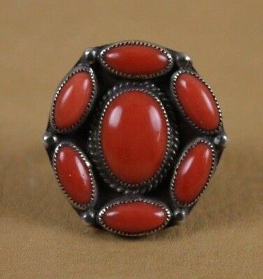Vintage Navajo/Zuni Coral and Silver Cluster Ring