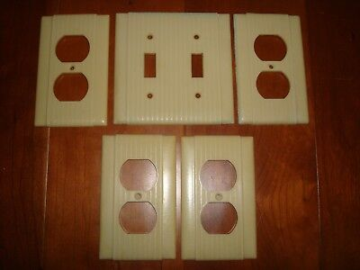 Vintage Uniline Ribbed Ivory Bakelite Double Light Switch Plate & 4 Outlet Cover