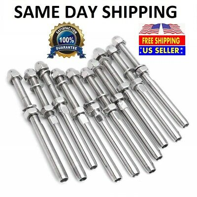 """T316 Stainless Steel Swage Threaded Tensioner End Fittings 3/16"""" Cable Railing"""