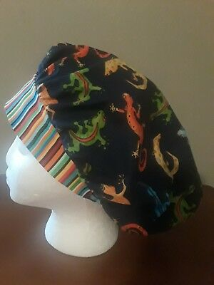 Gecko Lizards Women's Bouffant Surgical Scrub Hat/Cap Handmade
