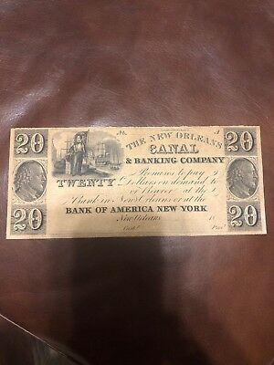 1830's TWENTY DOLLARS NEW ORLEANS CANAL & BANKING CO. OBSOLETE CURRENCY UNC NR