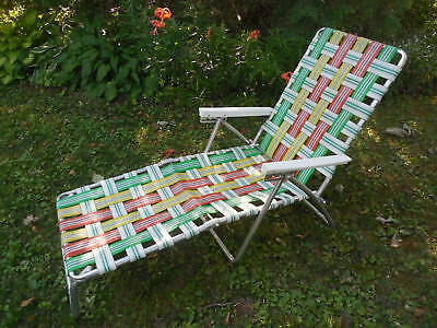 Aluminum Chaise Lounge Lawn Chair Webbed Folding Reclining Vintage Patio Camping