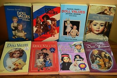 Doll Values Patricia Smith Antique to Modern 1st 4 5 6 7 8 11 12-  total 8 Books