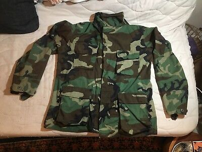 US Army Combat Coat DLA100-82-C-2000 Woodland Camouflage Pattern Large Long Camo
