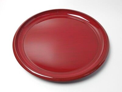 Japanese antique vintage red lacquer wood round Sencha Bon tea tray chacha