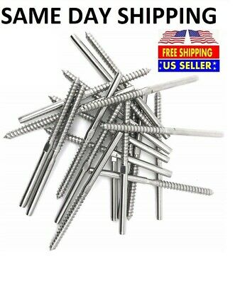 """T316 Stainless Steel Swage Lag Screw Stud Thread Fitting 3/16"""" Cable Railing"""