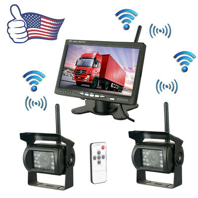"7"" Monitor For RV Truck Bus+ 2 X Wireless Rear View Backup Camera Night Vision"