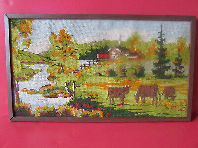 Completed Framed Needlepoint Farm Scenery Cows Landscape Rustic Decor Country