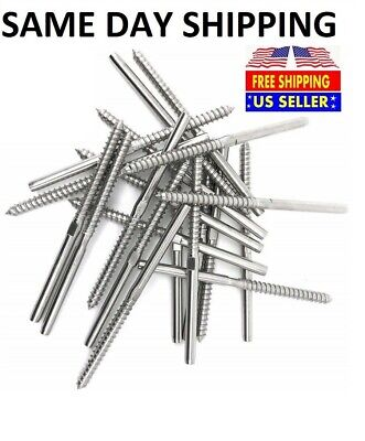 "T316 Stainless Steel Swage Lag Screw Stud Thread Fitting 1/8"" Cable Railing"