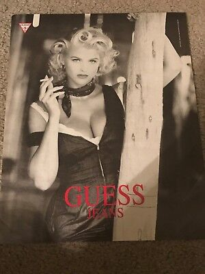 Vintage 1992 ANNA NICOLE SMITH GUESS Poster Print Ad #3 1990s RARE