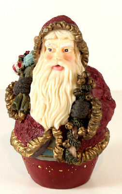 Roly Poly Resin Santa Figurine Old World Style Christmas