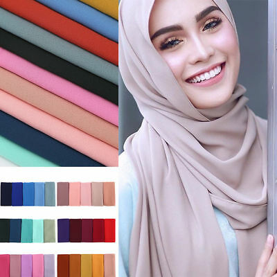 Fashion Women Plain Bubble Chiffon Islamic Muslim Hijab Lady Wrap Shawl Scarf **