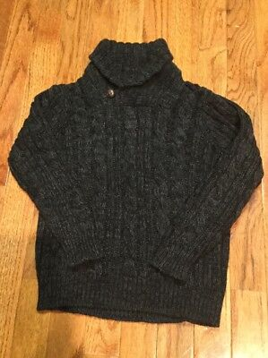 Old Navy Boys Gray Mock Neck Holiday Sweater With Brown Button Size 5t