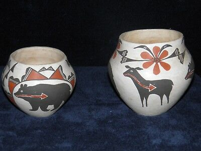 M Antonio Rare Matching Acoma Native American Pottery - Bear Deer Flowers