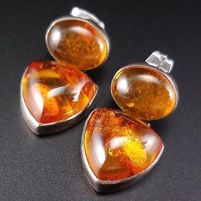Baltic Amber Sterling Silver Earrings Marked 925 JGD Estate Fine Jewelry