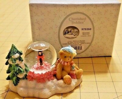 2001 Cherished Teddies 979260 December Waterball Bear w Umbrella next to Rainbow
