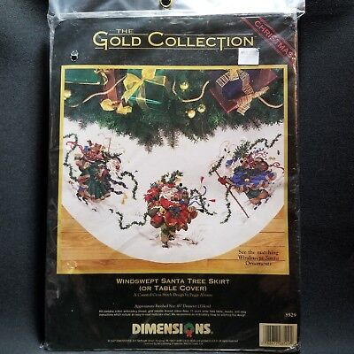 Dimensions Windswept Santa Tree Skirt 8529 Gold Collections Counted Cross Stitch