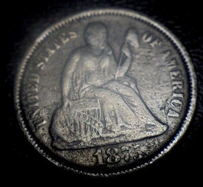 Rare Key Date Xf-Au 1875 Cc Carson City Seated Liberty Dime Old Type Silver Coin