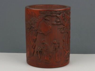 China Exquisite Hand-carved the ancients landscape Text carving bamboo Brush Pot