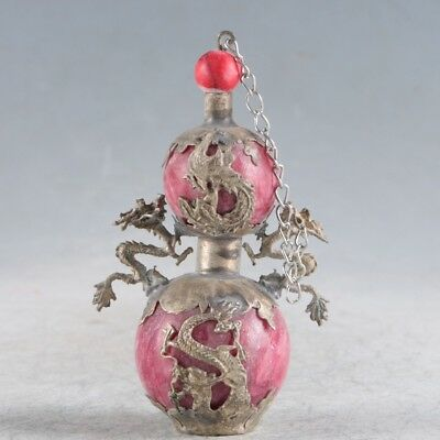 Chinese Exquisite Porcelain&silver Handmade Dragons Snuff Bottle
