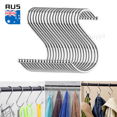 20X Stainless Steel S Shape Hooks Kitchen Hanger Rack Clothes Hanging Holders