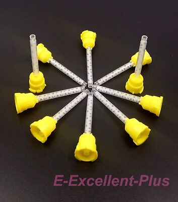New 100 Oral Yellow Dental Impression Mixing Syringe Mixing Tips 4.2mm US Stock