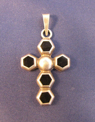 "Sterling Silver Mexican Cross Pendant w/Black Stones 1-5/8"" x 1-1/4"""