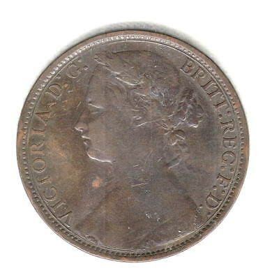 1876-H British Penny Nice Early Better Date Higher Grade