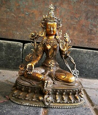 Buddhism Temple Bronze Gilt God Buddha Amitābha Guanyin prayer White Tara Statue
