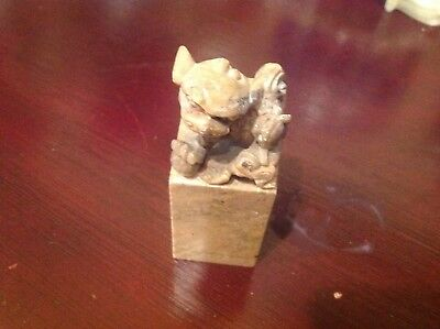 3 Vintage Chinese soapstone carved statues - lucky man, man with lion, foo dogs