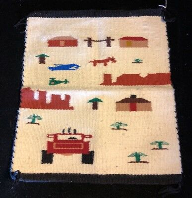 Navajo Rug Pictorial 17 X 15 Wool Inches Circa 1970 Authentic