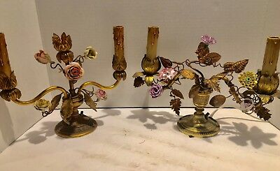 Magnificent Pair Of Antique French Bronze,Metal And Porcelain Candelabras.