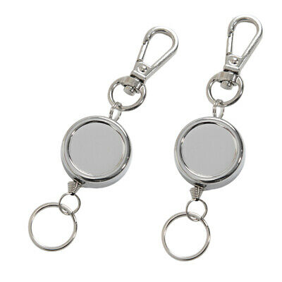 2x Retractable Key Chain Badge Reel Recoil Carabiner ID Keyring Holder Tool