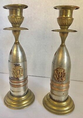 Pair Of Unusual, Antique French Candlesticks.