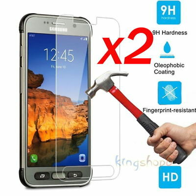 2x 9H+ Tempered Glass Screen Protector For Samsung Galaxy S5 S6 S7 S8 Active