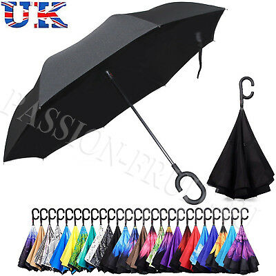 ANTI RAIN SNOW Umbrella Inverted Double Layer Upside Down Reverse C-HANDLE Gift