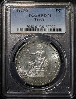 1878 S Trade Silver Dollar PCGS MS61 Lustrous Mint State Coin High Grade BU MS