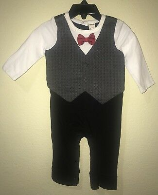 Cherokee Toddler Baby Boy Infant Jumpsuit Tuxedo Outfit Long Sleeve Bow Tie 6-9M