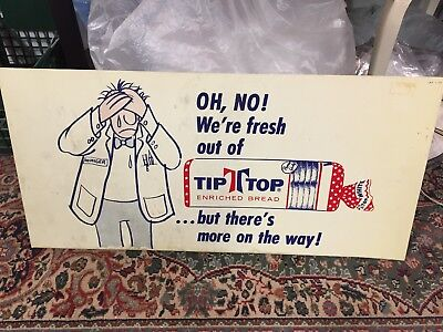 Vintage Tip Top Bread Sign 'Oh No, We're Fresh Out' Plastic Grocery Display
