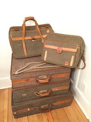 Vintage Lot of 5 HARTMANN Brown Tweed Leather Luggage Suitcases & Carry-on Bags